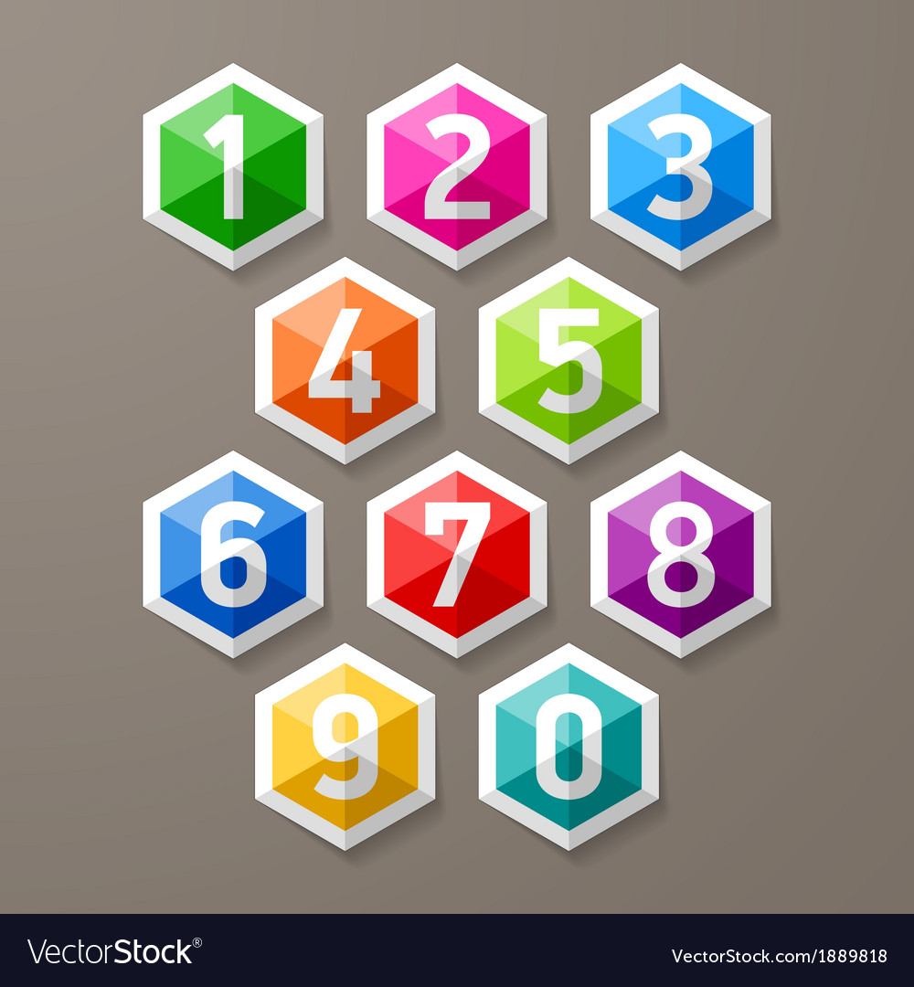 Diamond shaped glass numbers set vector | Price: 1 Credit (USD $1)