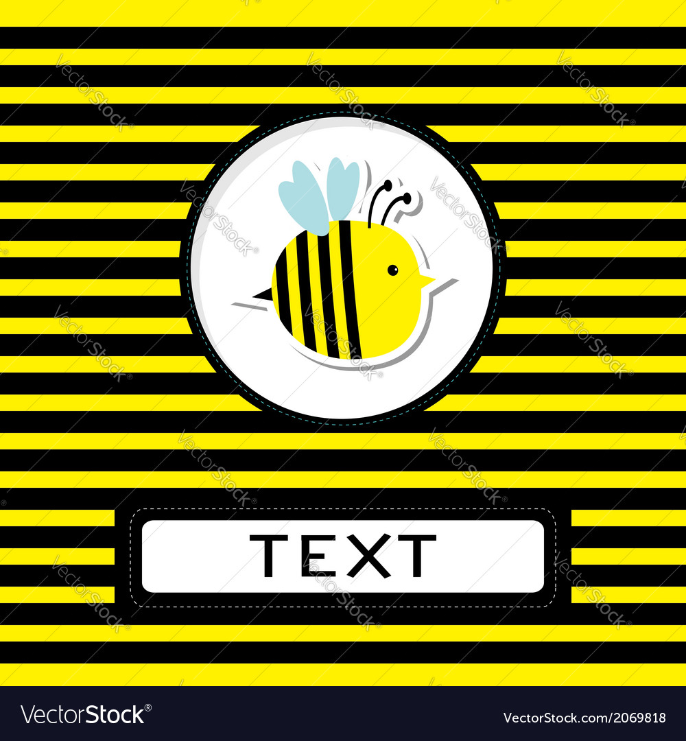 Funny cartoon bee striped background card vector | Price: 1 Credit (USD $1)