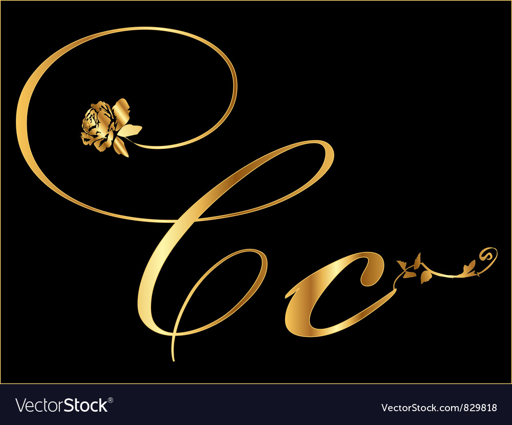 Gold letter c with roses vector   Price: 1 Credit (USD $1)