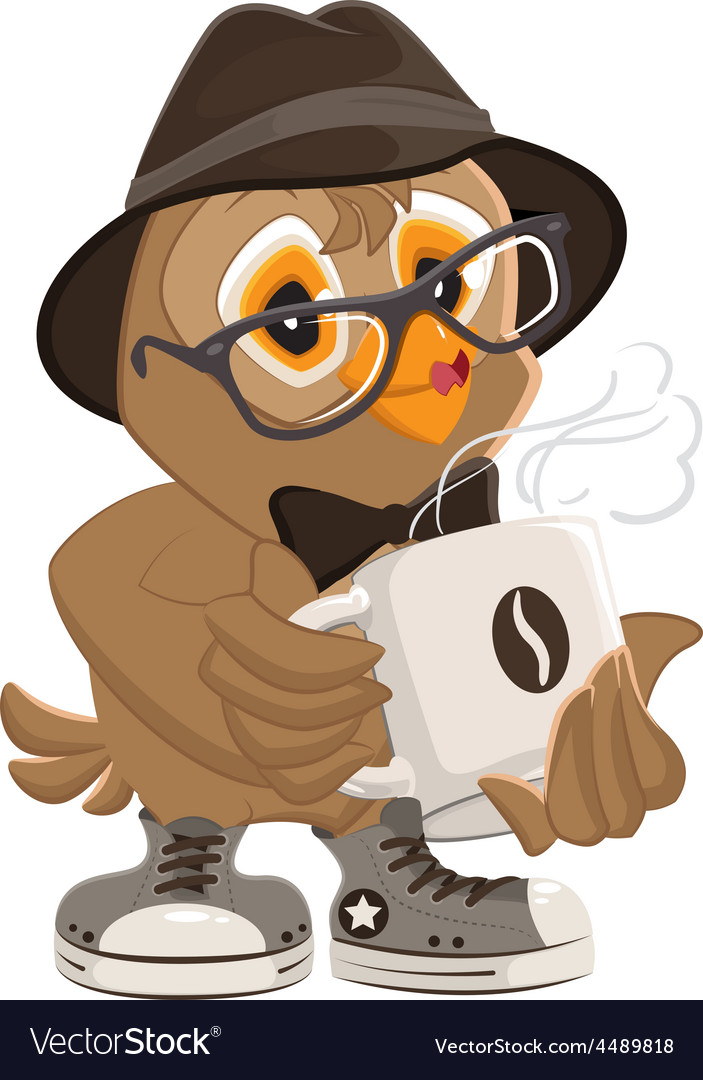 Hipster owl hat and sunglasses drinking hot coffee vector | Price: 1 Credit (USD $1)