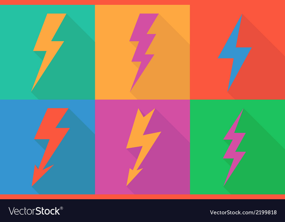 Lightning icon flat design long shadows vector | Price: 1 Credit (USD $1)
