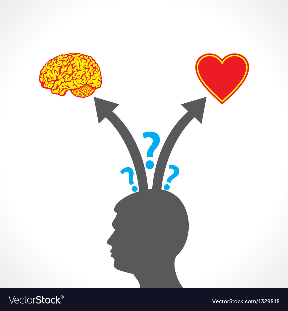Men confuse between brain and heart vector | Price: 1 Credit (USD $1)