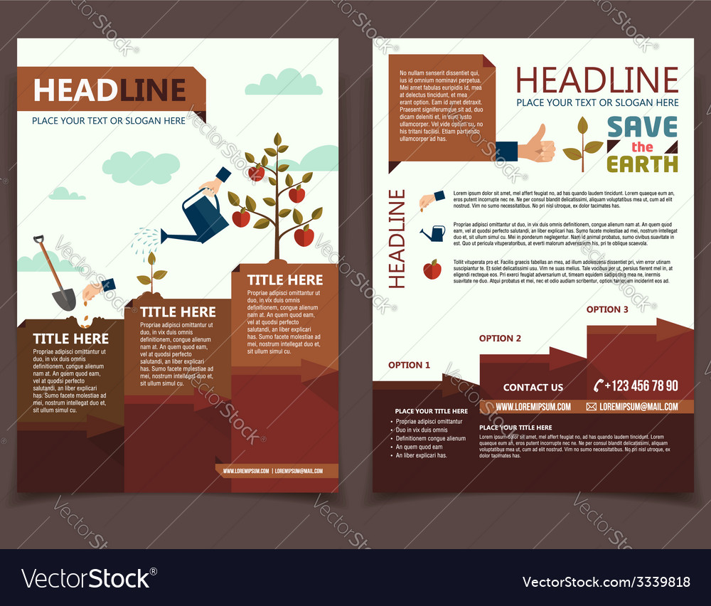 Planting tree corporate brochure flyer vector | Price: 1 Credit (USD $1)