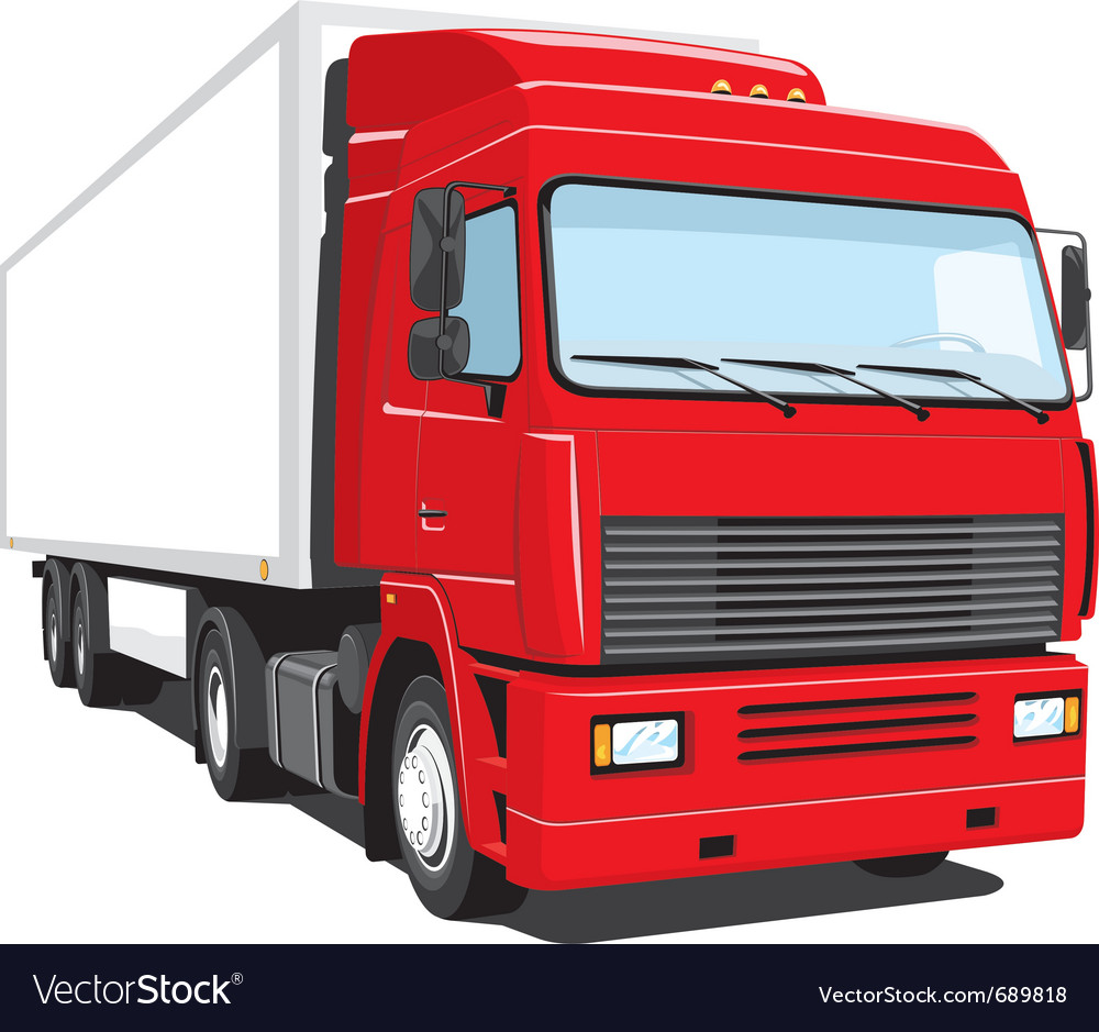 Red semi truck vector | Price: 3 Credit (USD $3)