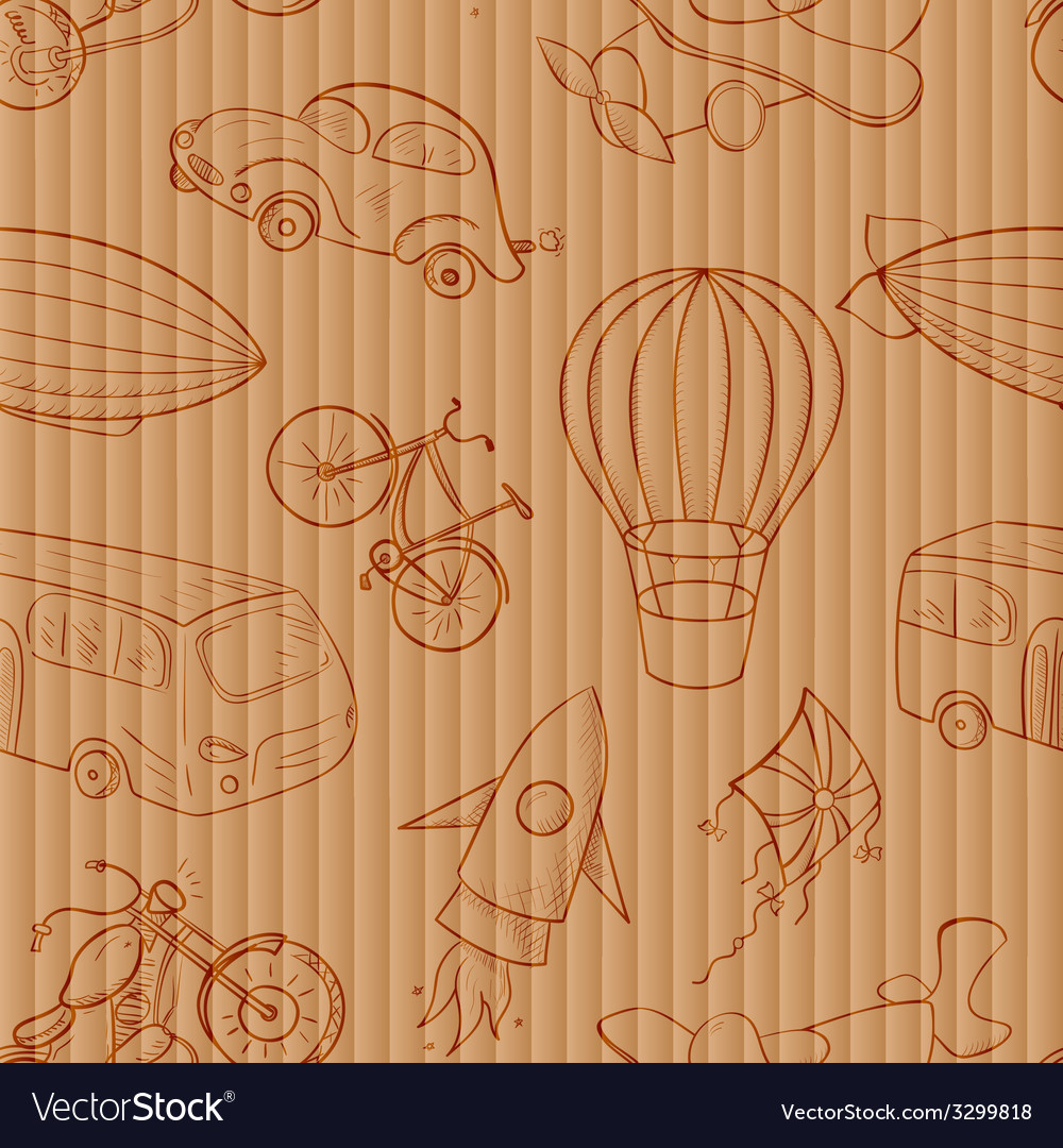 Sketches means of transport vintage seamless vector | Price: 1 Credit (USD $1)