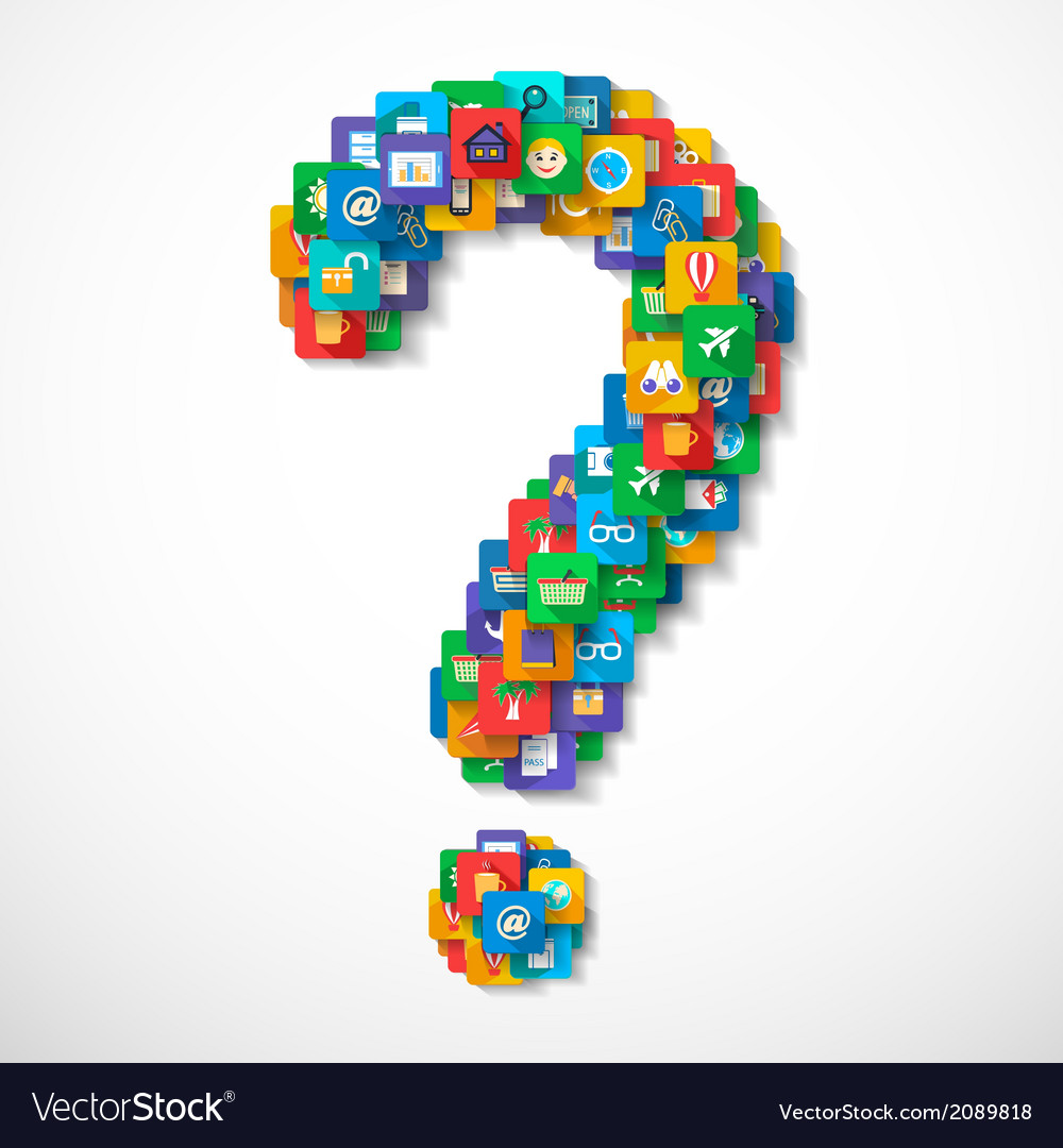 Travel icons question mark vector | Price: 1 Credit (USD $1)