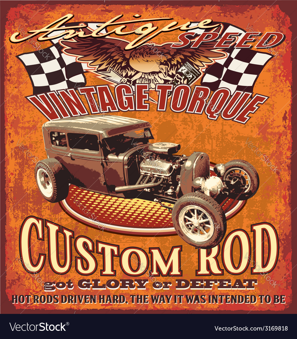 Vintage hot rod vector | Price: 1 Credit (USD $1)