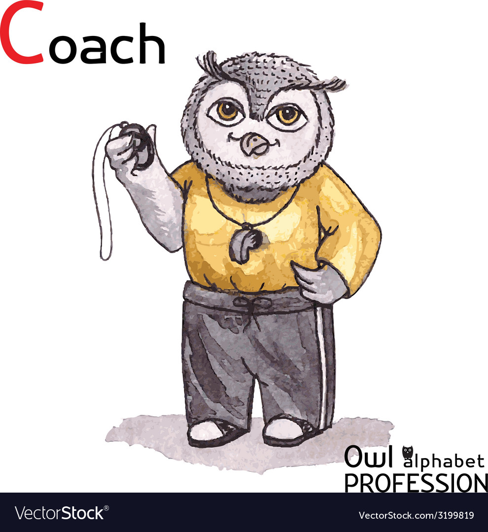 Alphabet professions owl letter c - coach vector | Price: 1 Credit (USD $1)