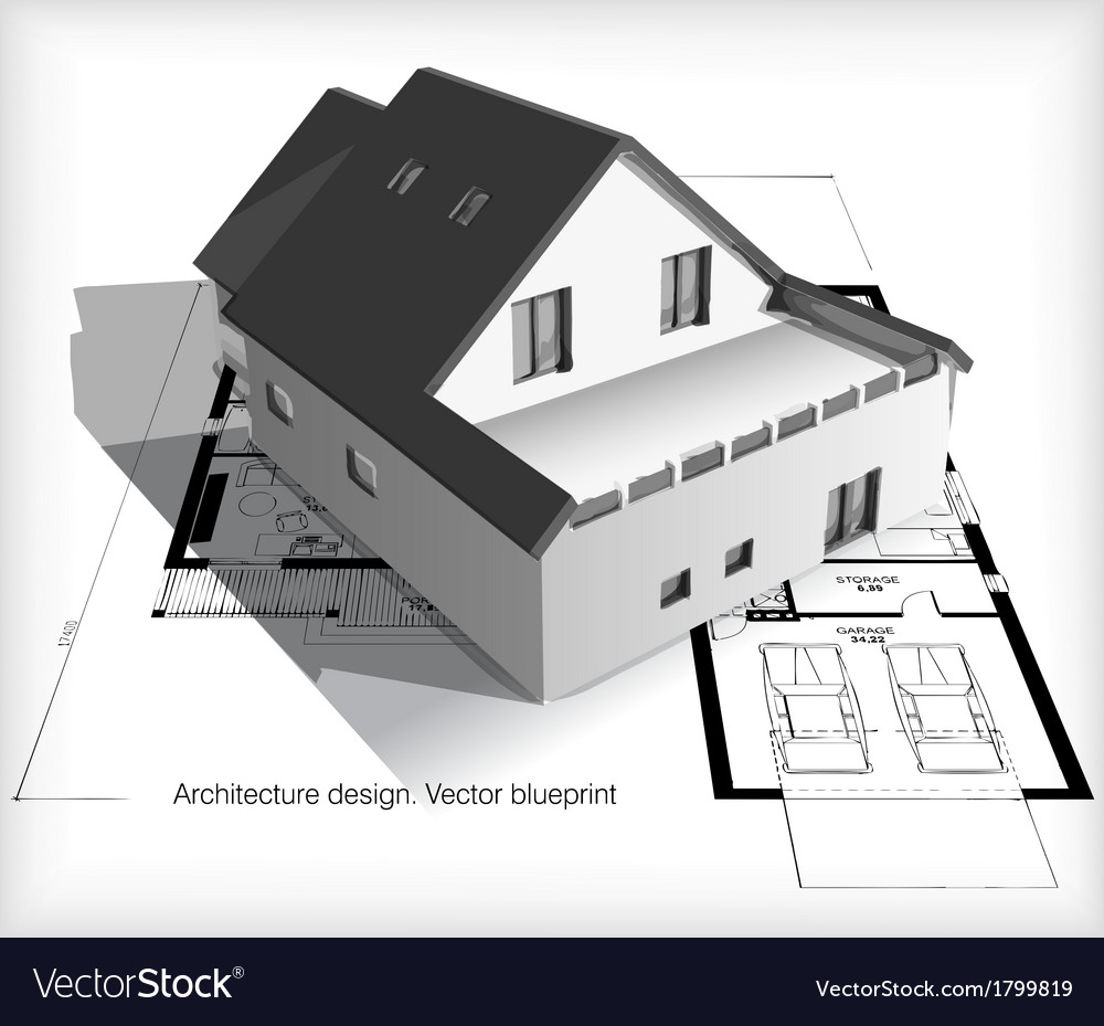 Architecture model house on top of blueprints vector | Price: 1 Credit (USD $1)