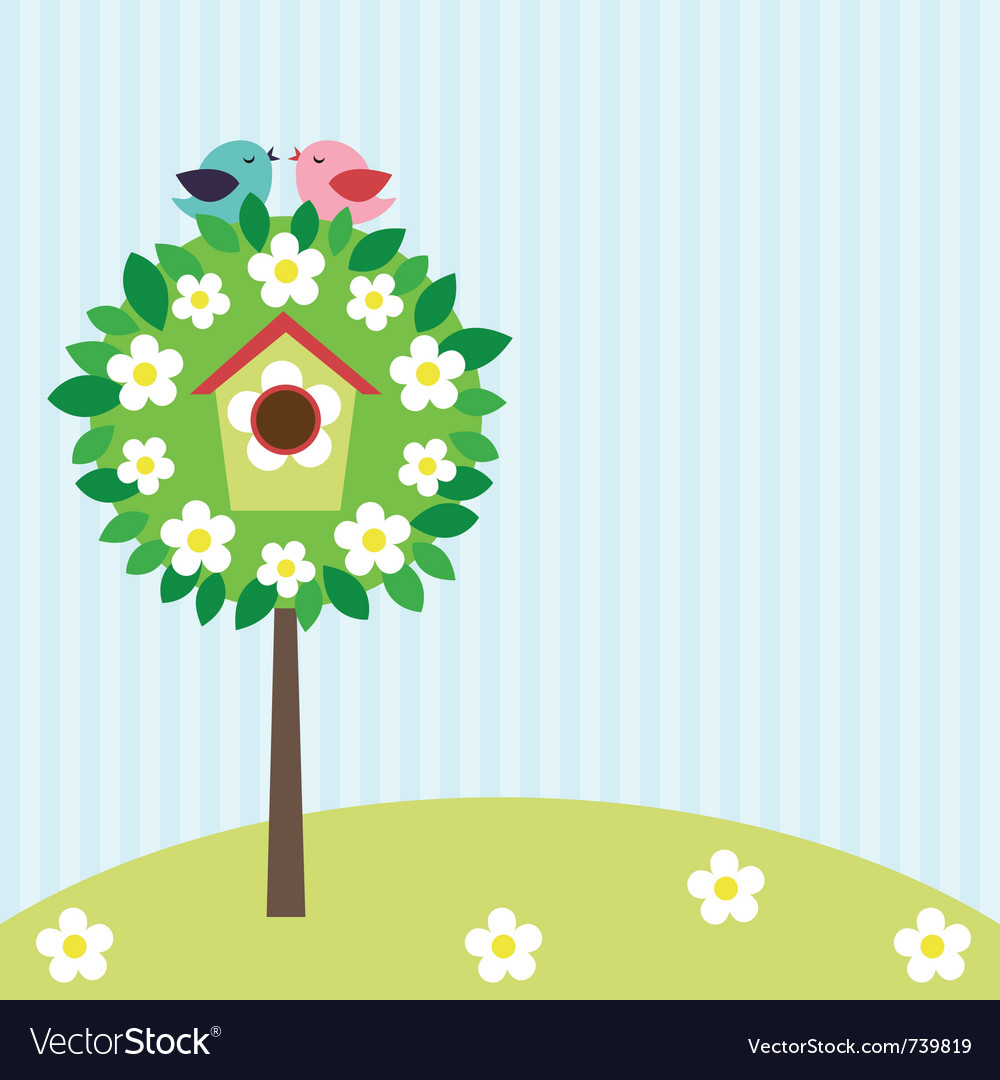 Birds on tree vector | Price: 1 Credit (USD $1)