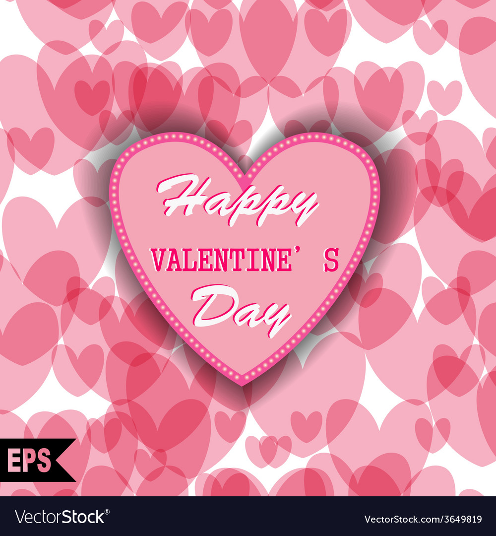 Happy valentines day cards with heart on vector | Price: 1 Credit (USD $1)