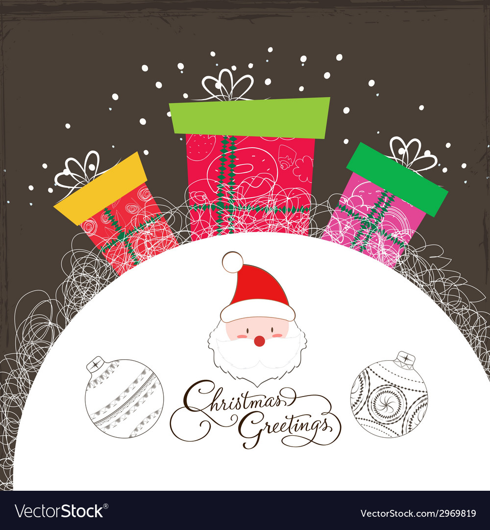 Merry christmas card with santa claus and gift 3 vector | Price: 1 Credit (USD $1)