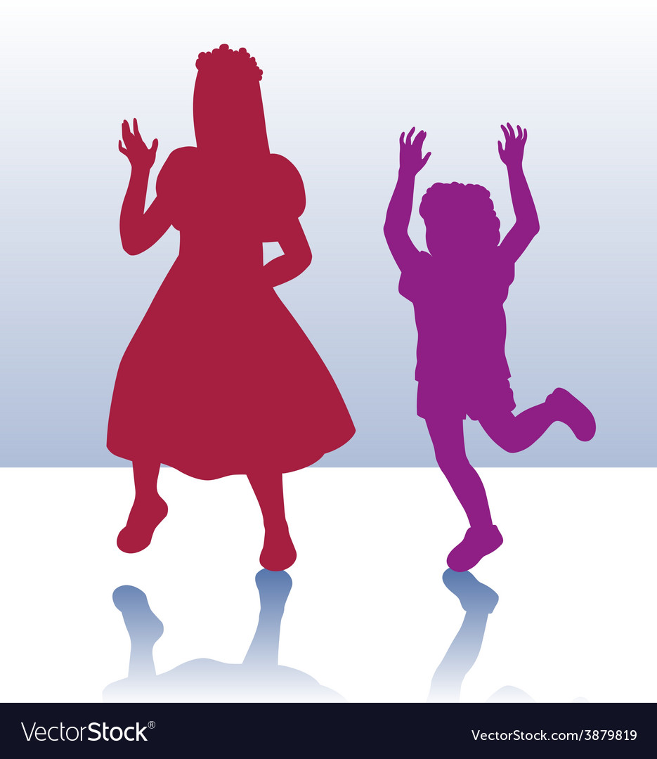 Silhouette of little boy and girl vector | Price: 1 Credit (USD $1)