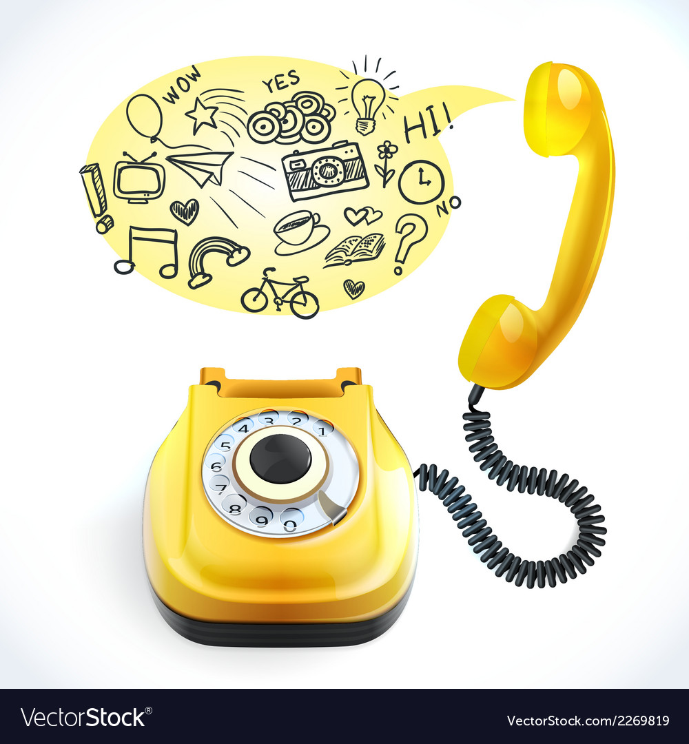 Telephone old doodle vector | Price: 1 Credit (USD $1)