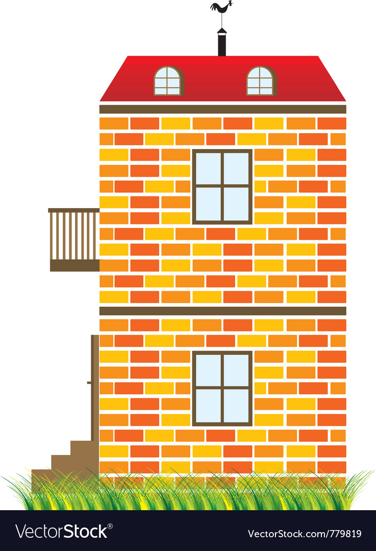 Two-story house vector | Price: 1 Credit (USD $1)