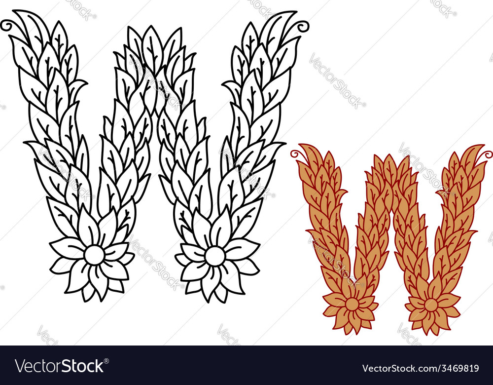 Uppercase letter w in a foliate font vector | Price: 1 Credit (USD $1)