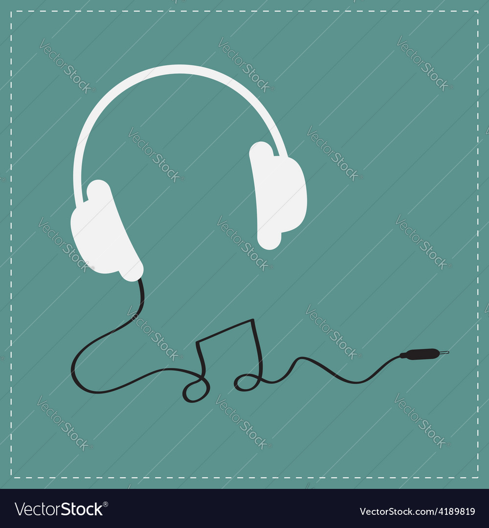 White headphones icon with black cord note shape vector | Price: 1 Credit (USD $1)