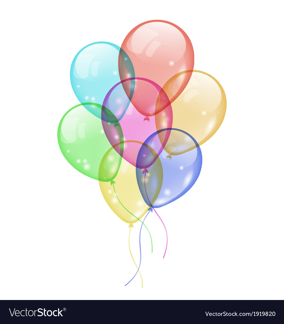 Bunch colorful balloons isolated on white vector | Price: 1 Credit (USD $1)