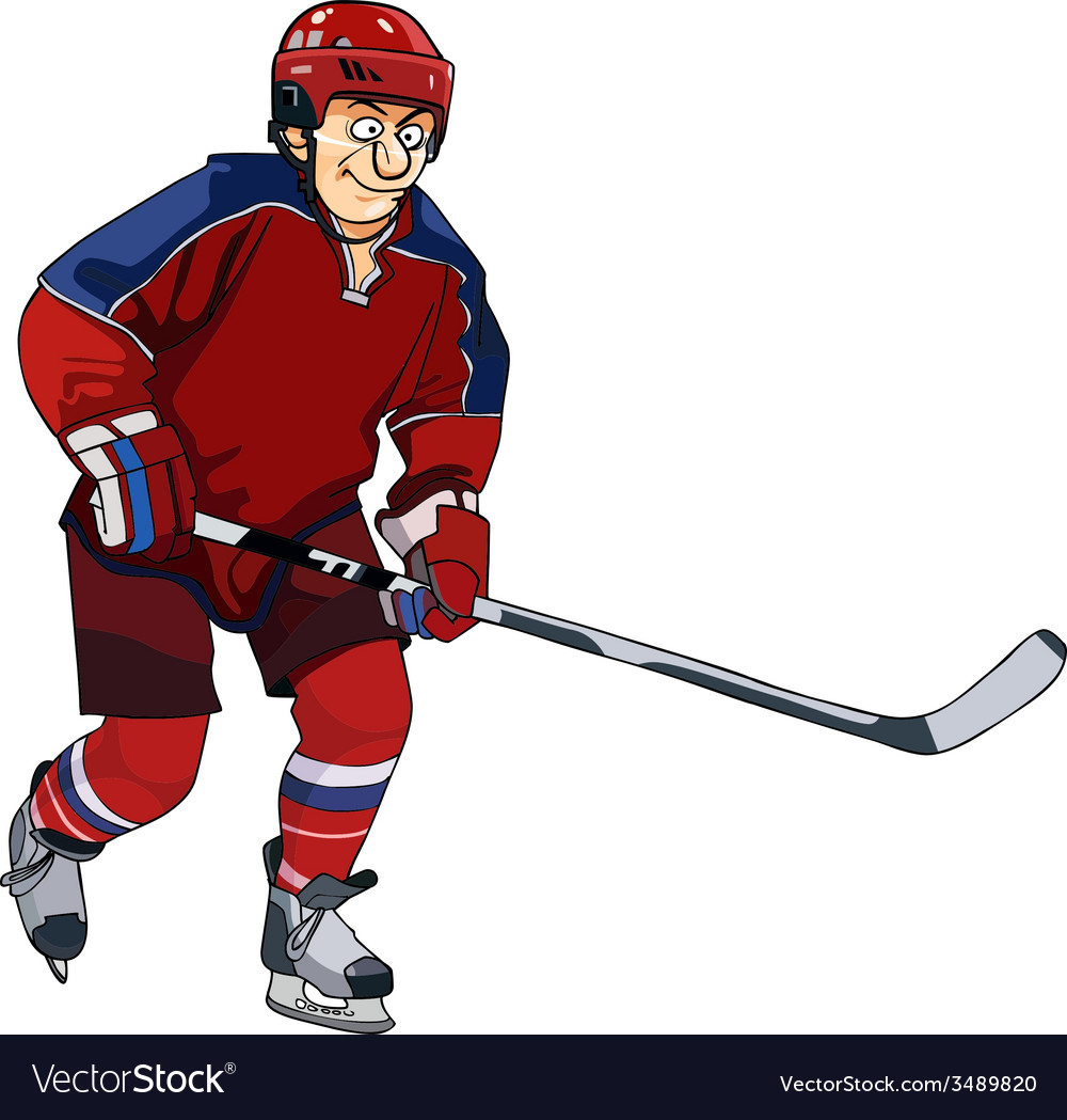 Cartoon hockey player in the red form with a stick vector | Price: 3 Credit (USD $3)