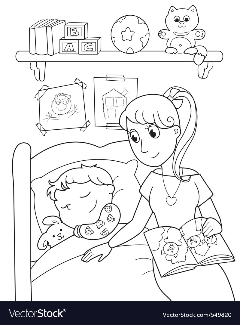 Child at bed with mom vector | Price: 1 Credit (USD $1)