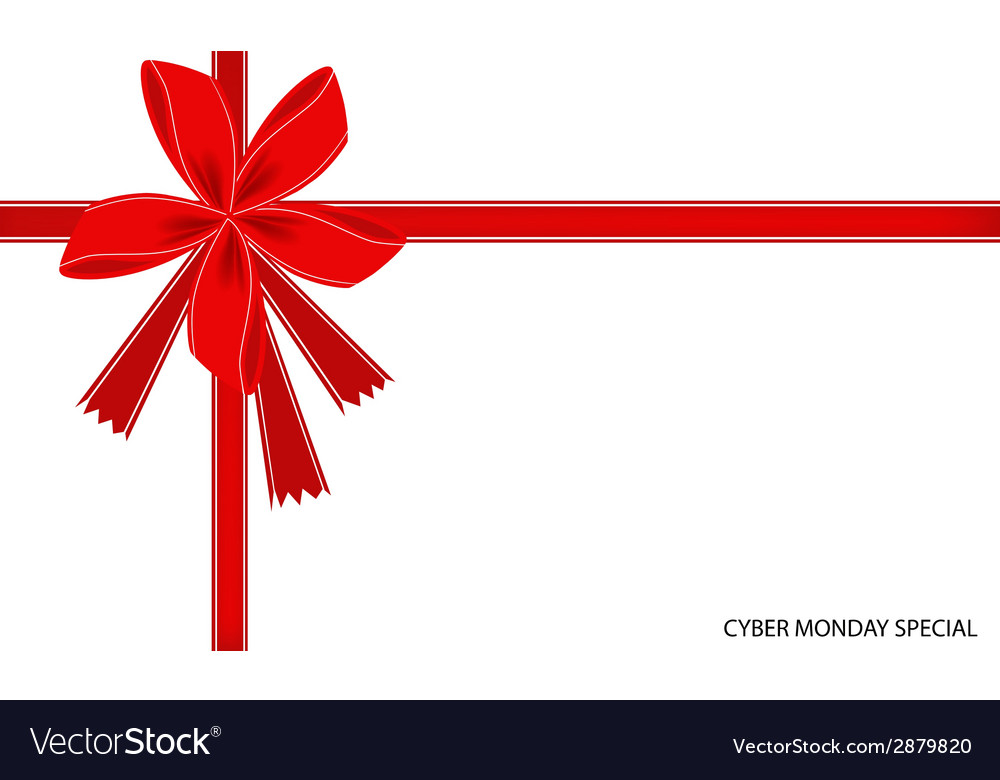Cyber monday special card with red ribbon vector | Price: 1 Credit (USD $1)