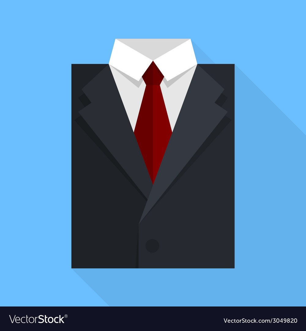 Flat business jacket and tie black color vector | Price: 1 Credit (USD $1)