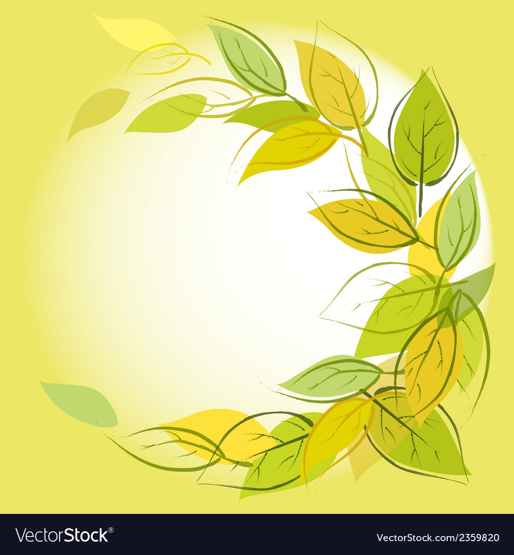 Green background with leaves vector | Price: 1 Credit (USD $1)