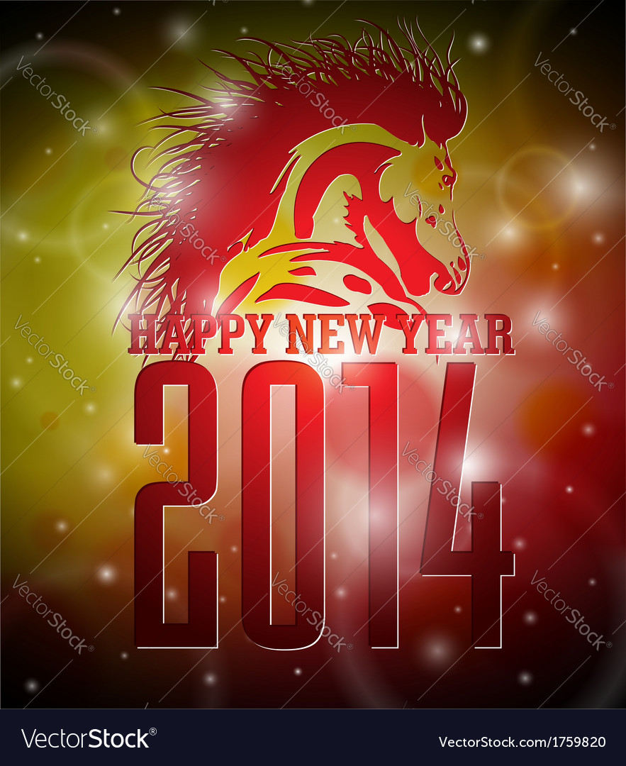Happy new year 2014 design with horse vector   Price: 1 Credit (USD $1)