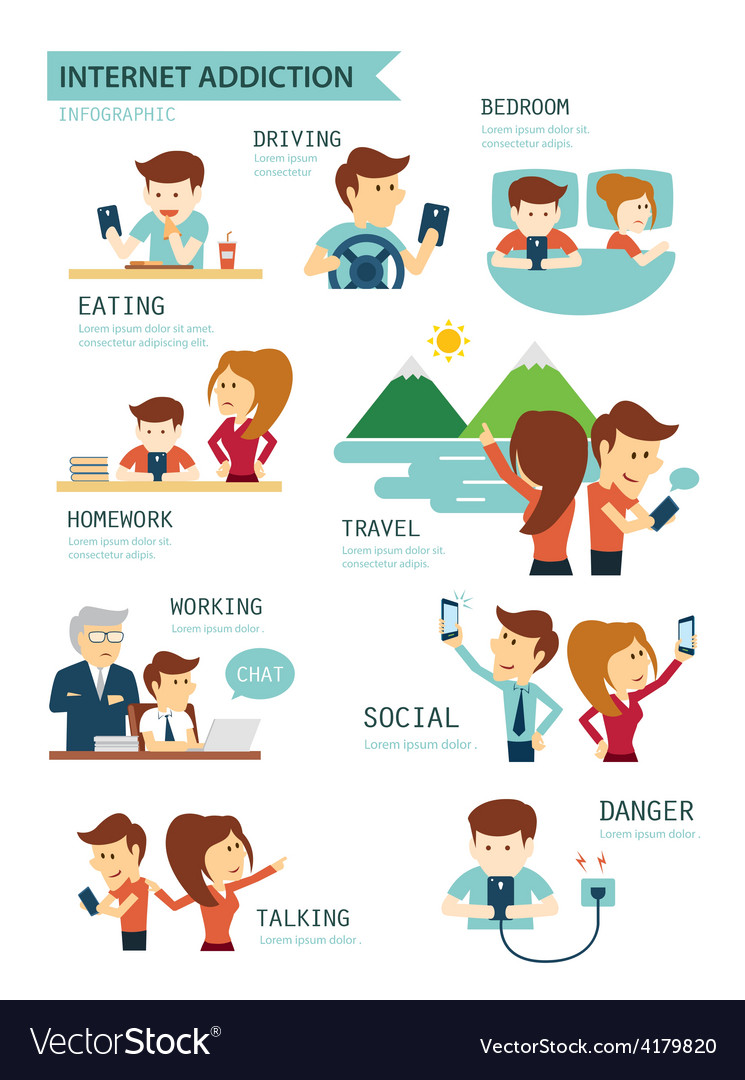 Internet and smartphone addiction vector | Price: 1 Credit (USD $1)