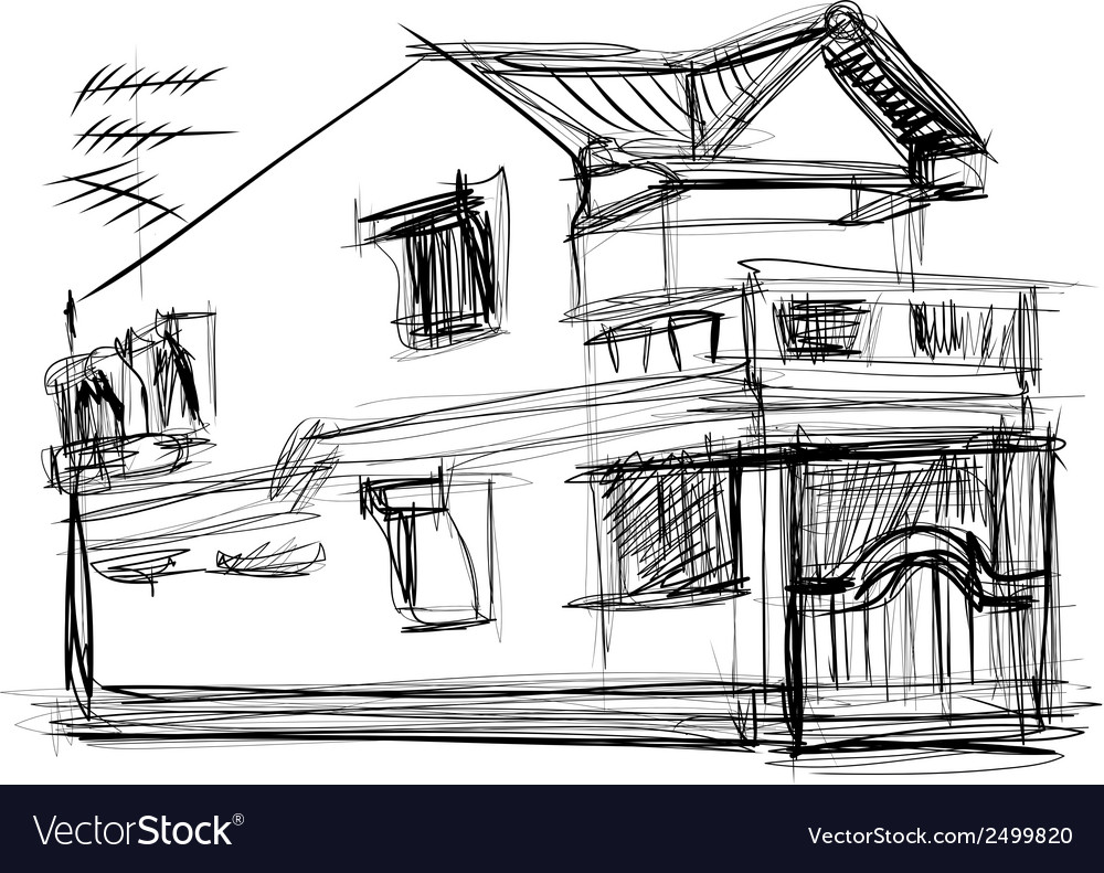 Sketch of house vector   Price: 1 Credit (USD $1)