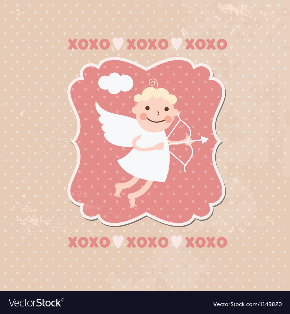 Valentines card cute angels or cupids vector | Price: 1 Credit (USD $1)