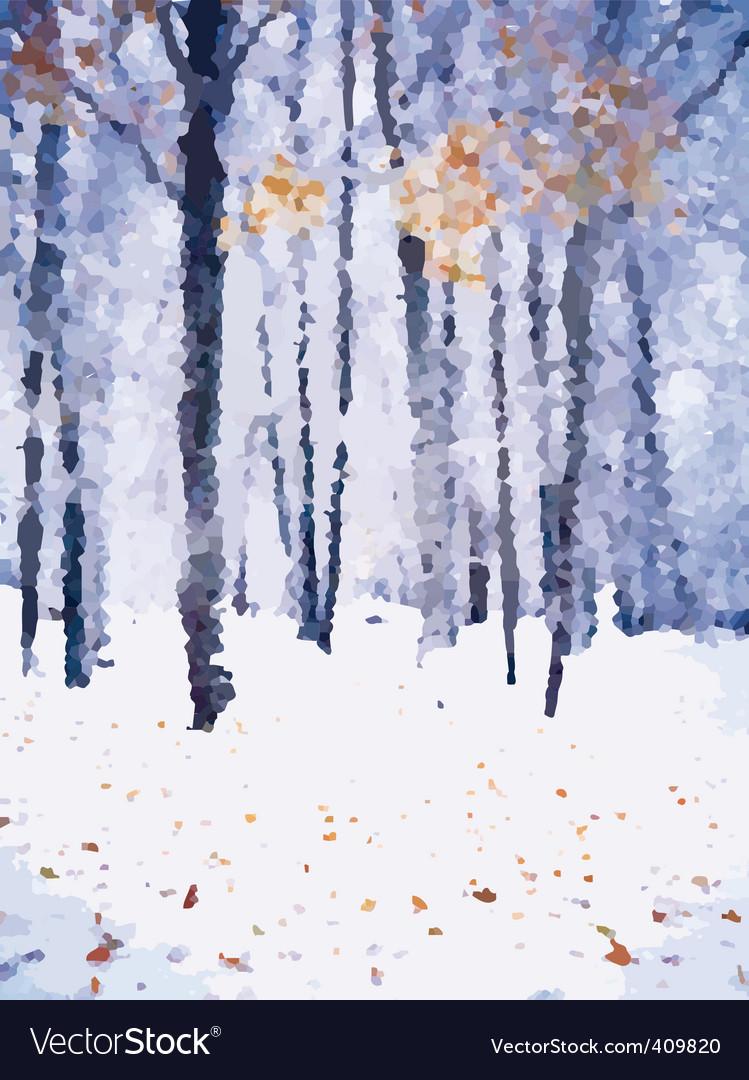 Winter forest landscape vector | Price: 1 Credit (USD $1)