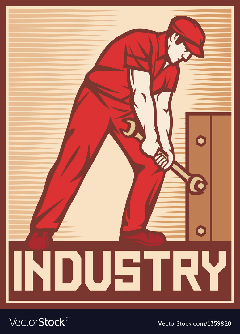Worker holding wrench - industry poster vector | Price: 1 Credit (USD $1)