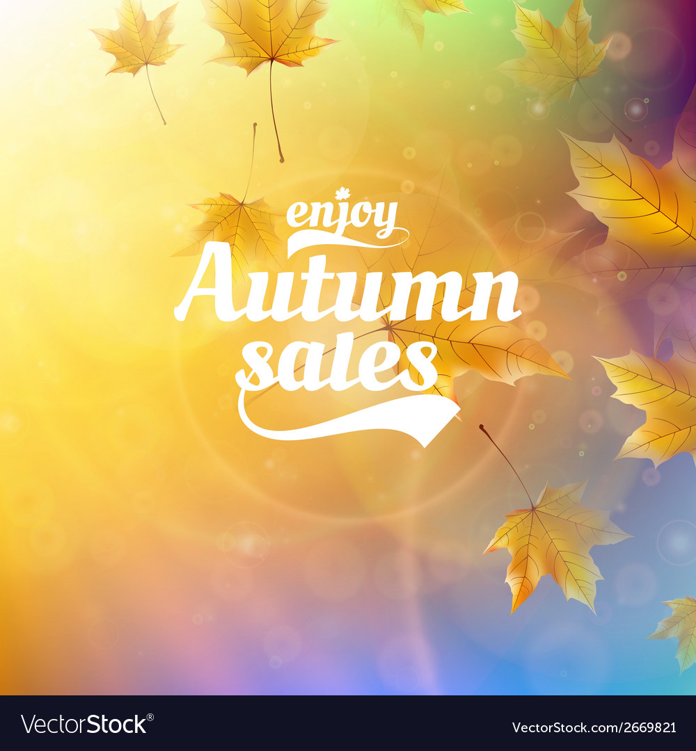 Autumn sale realistic leaves typography poster vector | Price: 1 Credit (USD $1)