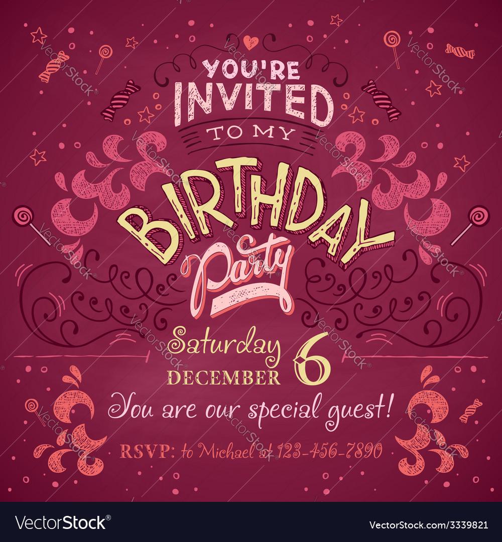 Birthday party invitation vector | Price: 1 Credit (USD $1)