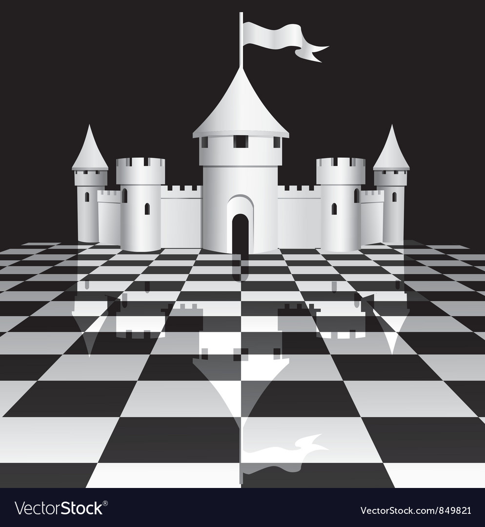 Castle on chessboard vector | Price: 1 Credit (USD $1)