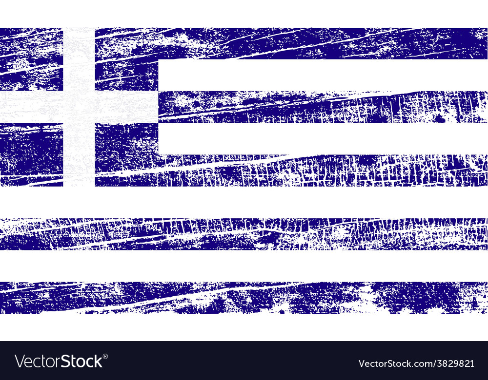 Flag of greece with old texture vector | Price: 1 Credit (USD $1)