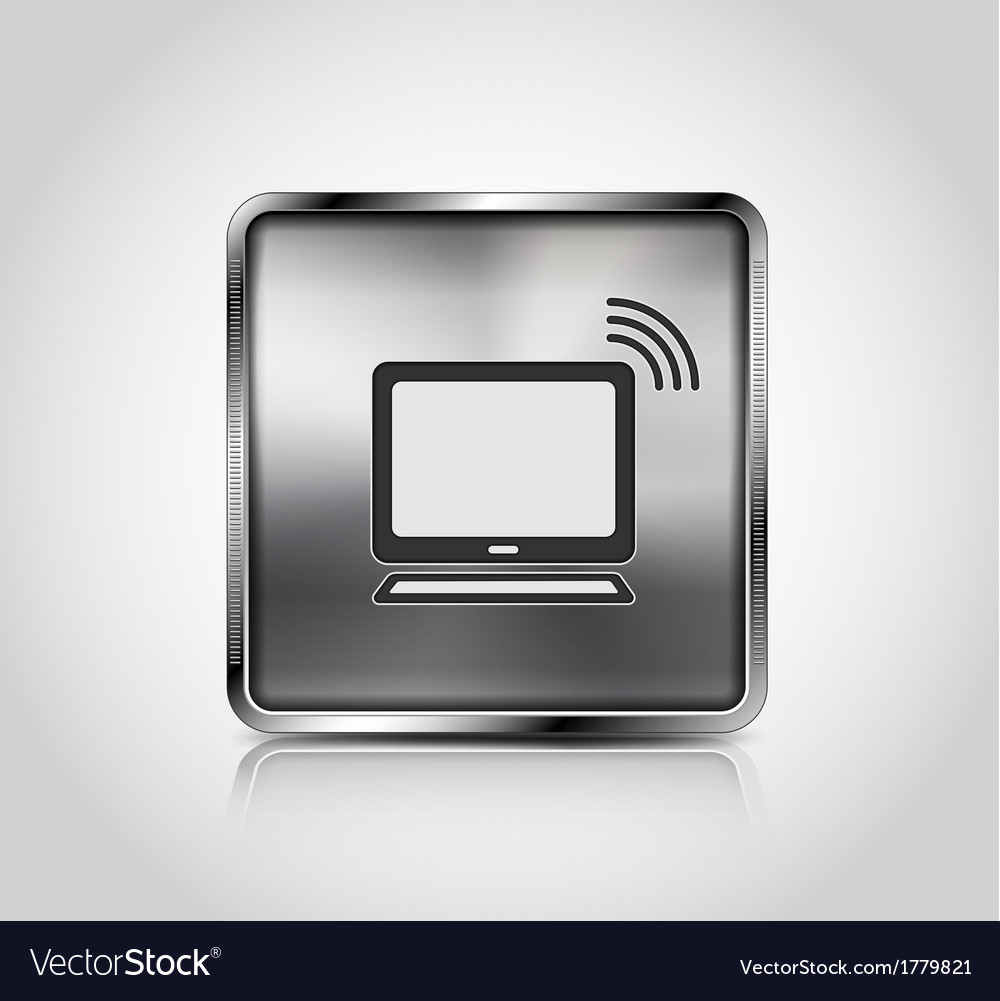 Metal icon notebook wireless connection vector | Price: 1 Credit (USD $1)