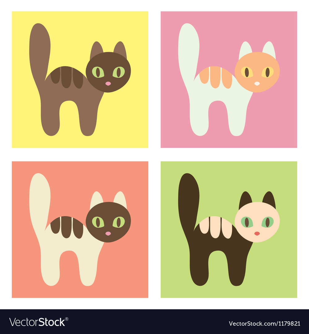 Multicolored cats on the different backgrounds vector | Price: 1 Credit (USD $1)
