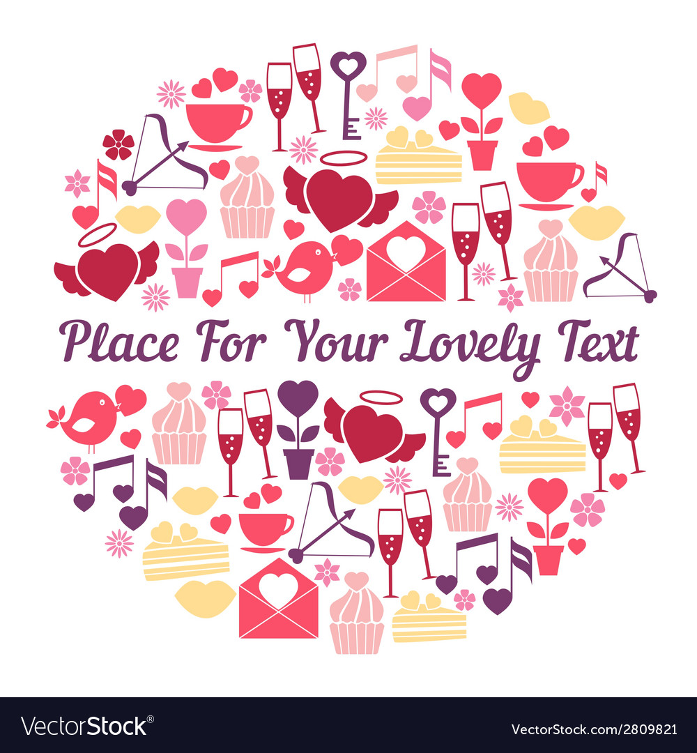 Romantic card design with space for text vector | Price: 1 Credit (USD $1)
