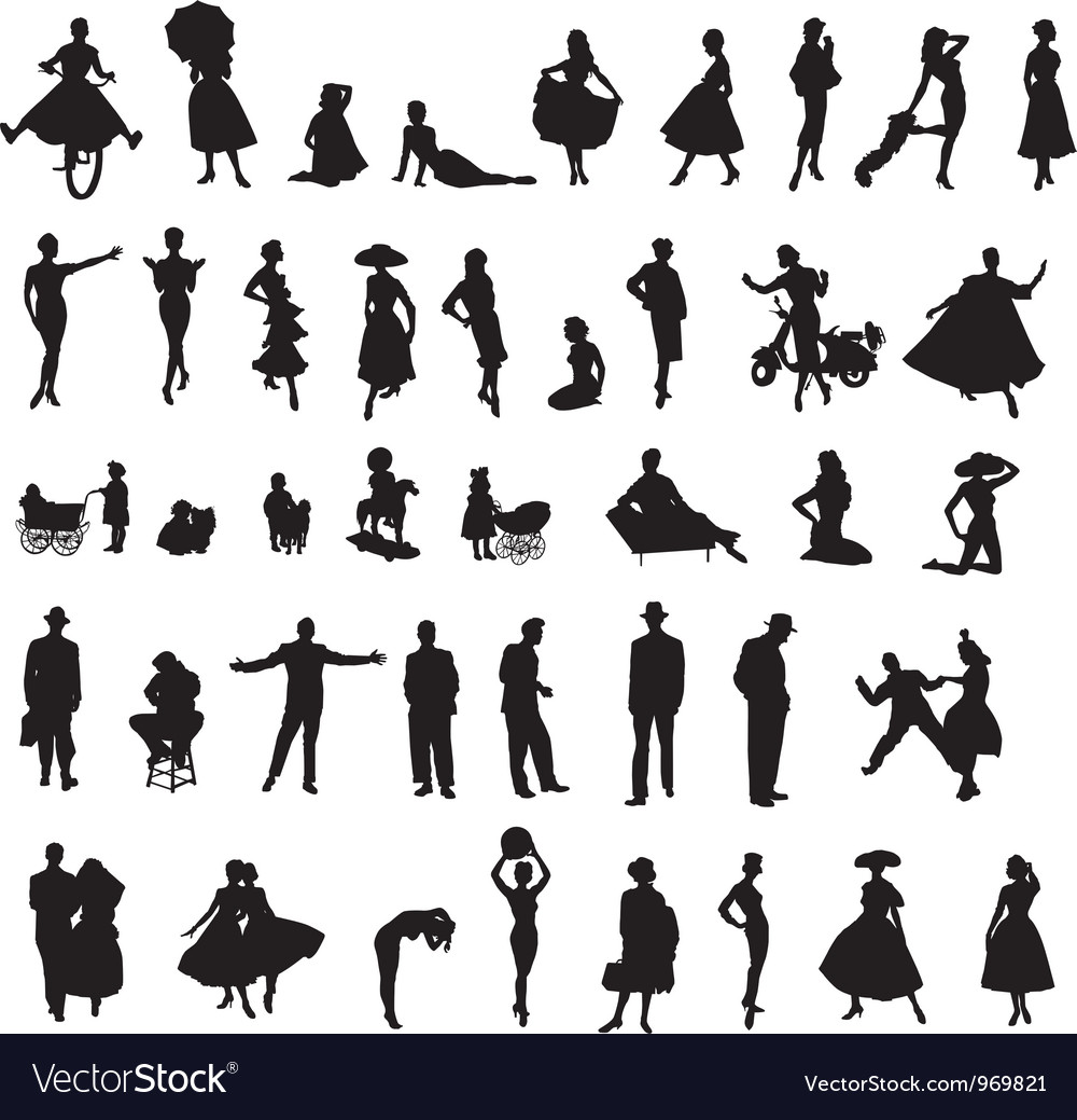 Set of retro silhouettes of people vector | Price: 1 Credit (USD $1)