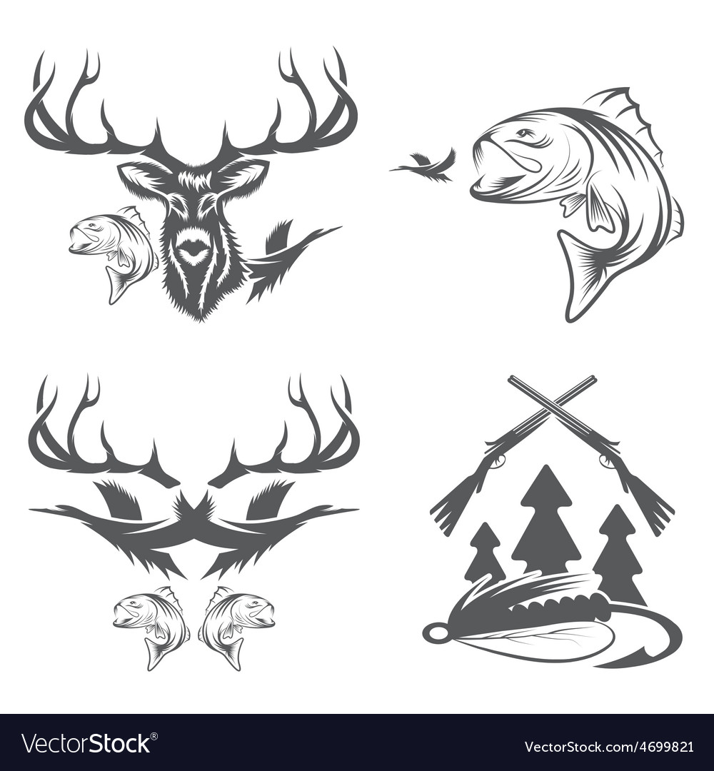 Set of vintage hunting and fishing labels and vector | Price: 1 Credit (USD $1)