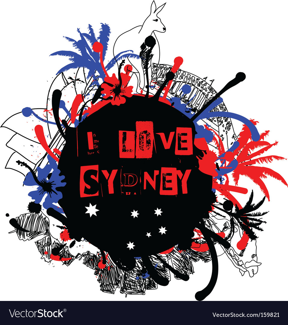 Sydney grunge design vector | Price: 1 Credit (USD $1)