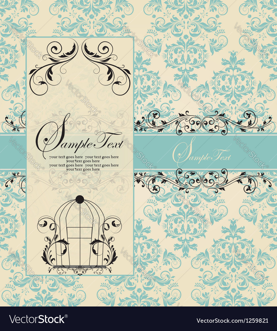 Wedding blue card vector | Price: 1 Credit (USD $1)