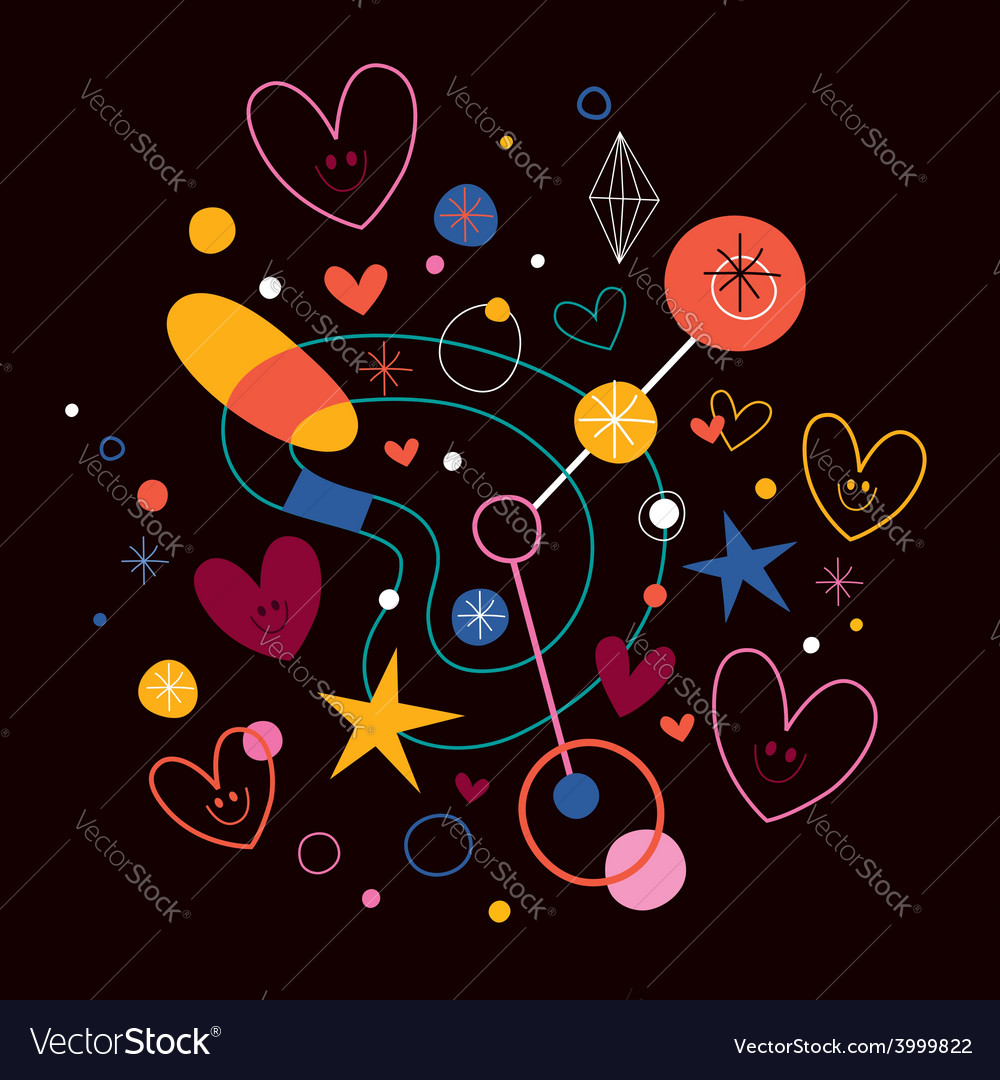 Abstract art with cute hearts 2 vector | Price: 1 Credit (USD $1)