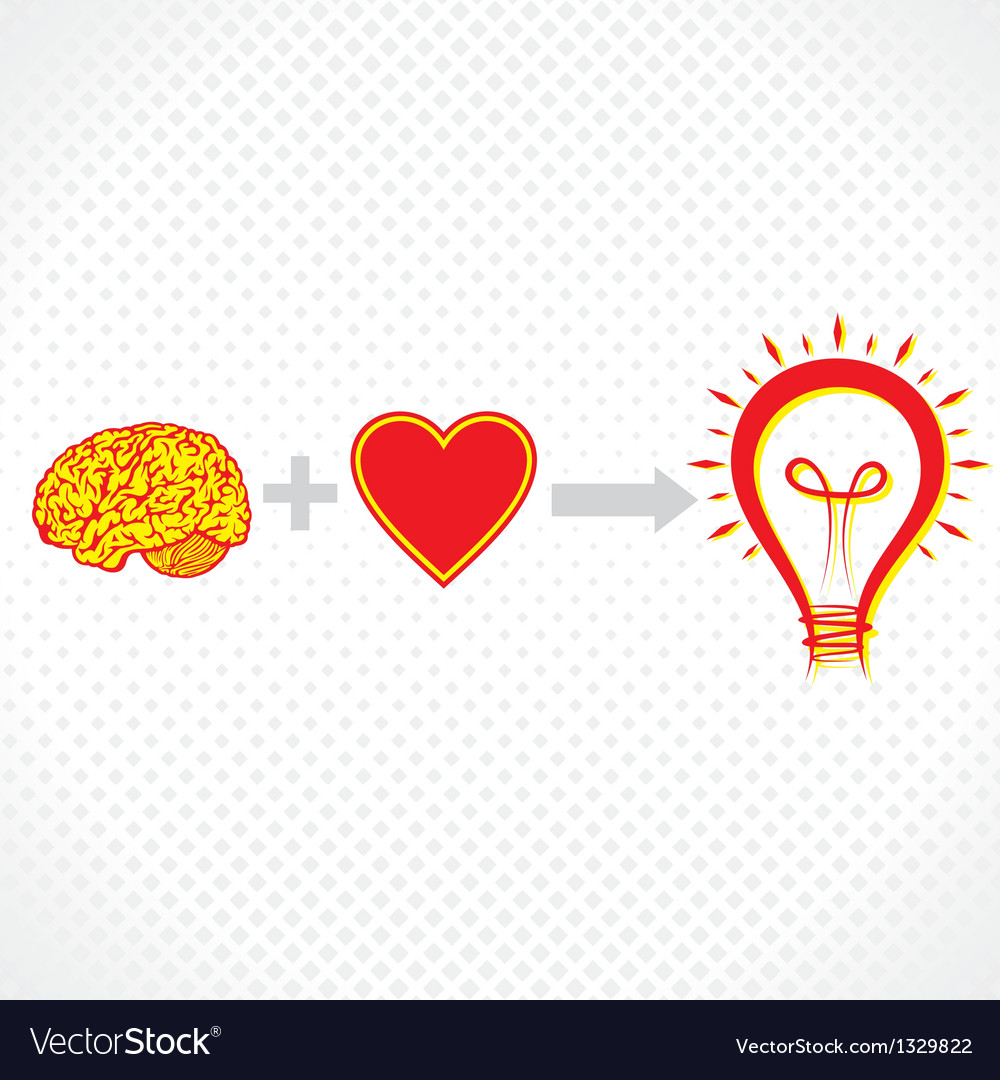 Addition of brain and heart create new idea vector | Price: 1 Credit (USD $1)