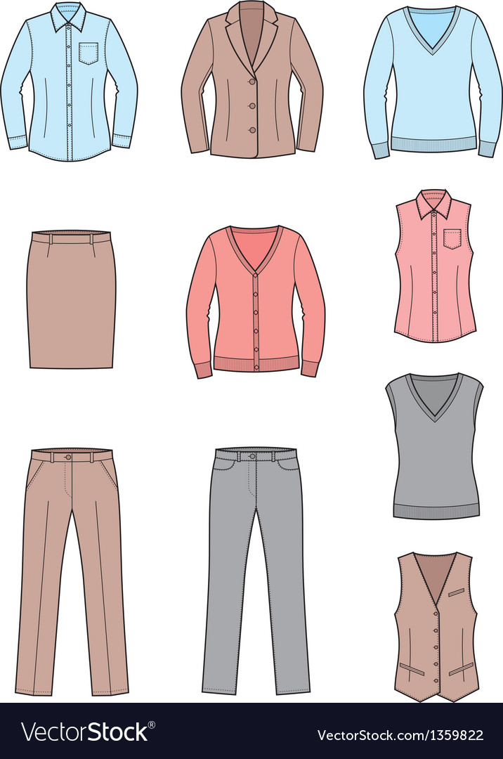 Business clothes set vector | Price: 1 Credit (USD $1)