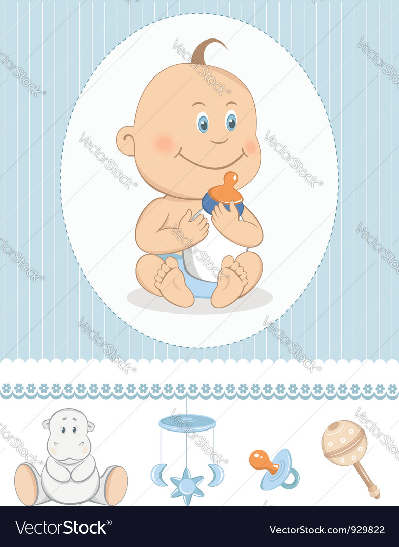 Cartoon baby boy with milk bottle vector | Price:  Credit (USD $)