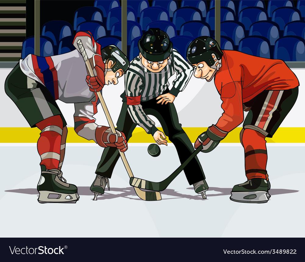 Cartoon hockey throwing the puck vector | Price: 3 Credit (USD $3)