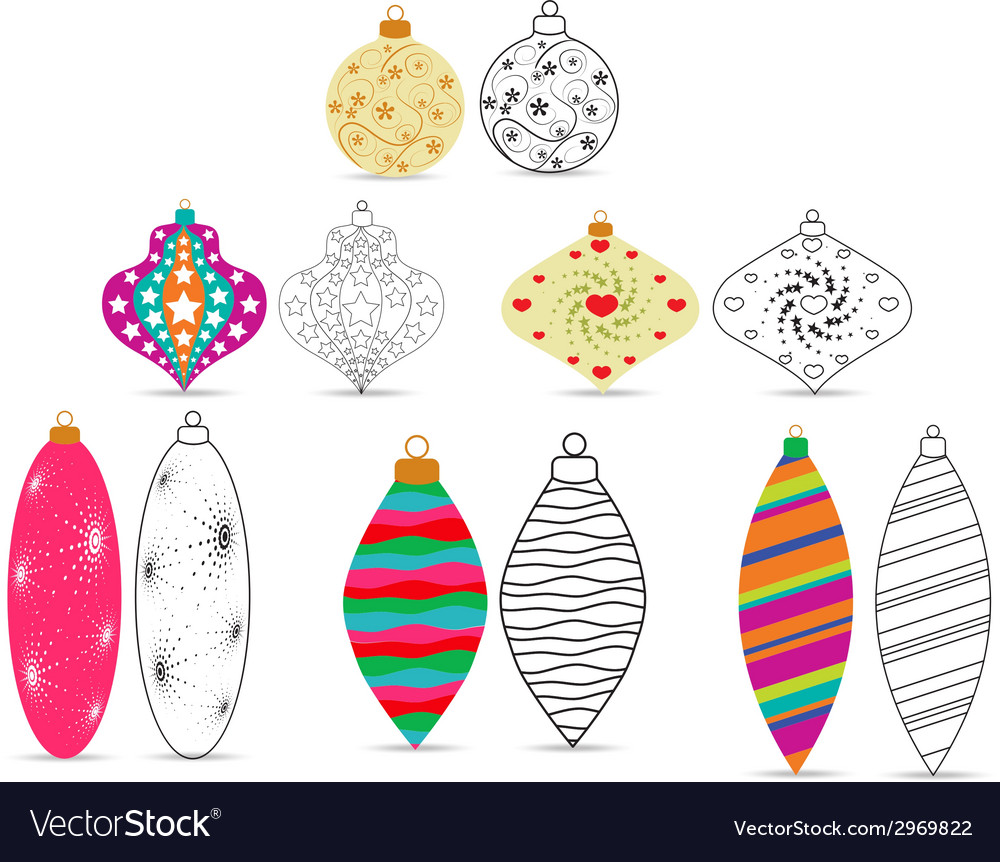 Christmas balls sketches and colourful vector | Price: 1 Credit (USD $1)